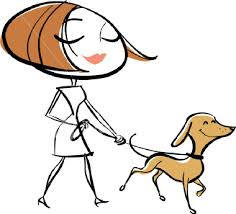 Cartoon woman walking dog